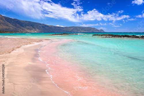 Deurstickers Strand Elafonissi beach with pink sand on Crete, Greece