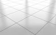 Leinwanddruck Bild - White glossy ceramic tile floor background. 3d rendering
