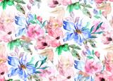 Akwarela bezszwowe wzór. Wzór w kwiaty - 145093204