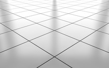 White Glossy Ceramic Tile Floor Background. 3d Rendering