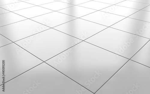 Fotomural  White glossy ceramic tile floor background. 3d rendering