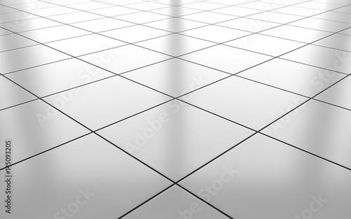 Obraz na plátne White glossy ceramic tile floor background. 3d rendering