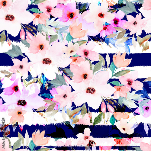 Fotografering  Watercolor seamless pattern on striped background. Floral print