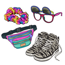 Retro Pop Culture Items From 90s - Scrunchie, Sunglasses With Removable Lenses, Zebra Sneakers And Waist Pack, Sketch Illustration Isolated On White Background. Realistic Hand Drawn Set Of 90s Items