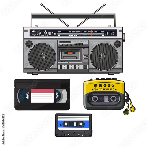 Fotografija Retro style audio cassette, tape recorder, music player and videotape from 90s, sketch illustration isolated on white background