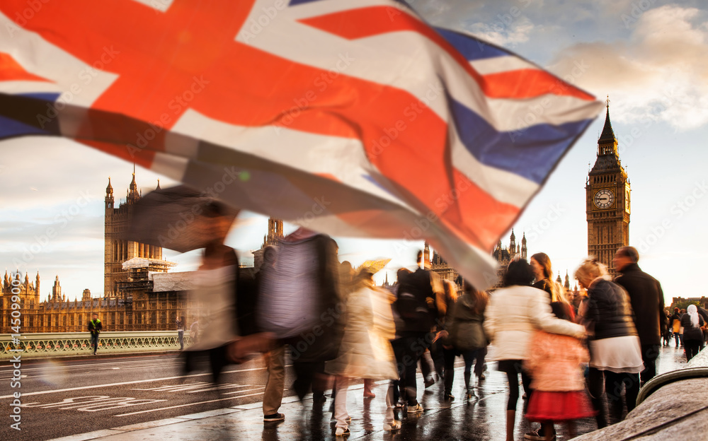 Fototapety, obrazy: union jack flag and iconic Big Ben at the palace of Westminster, London - the UK prepares for new elections