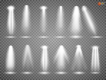 Scene Illumination Collection, Transparent Effects. Lighting With Spotlights. Vector EPS10