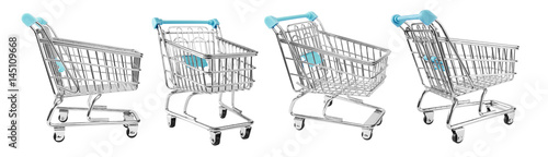 Photo  shopping supermarket cart, CLIPPING PATHS included