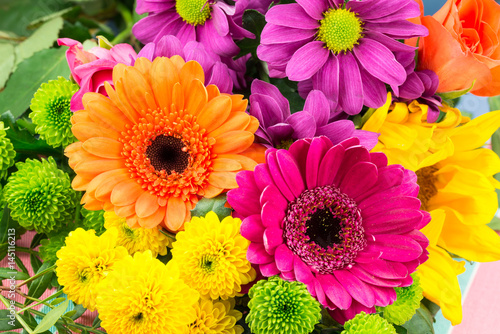 Pink and orange Transvaal daisy's in bunch of flowers.
