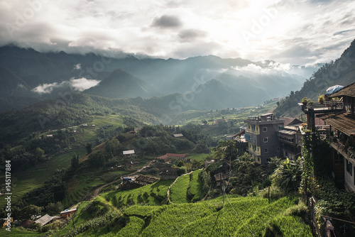 Fotobehang Asia land Landscape about terraced rice field in Sapa.