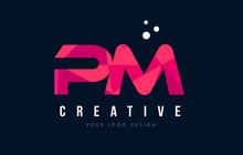 PM P L Letter Logo With Purple...