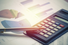 Calculator And Pen On Finance, Account And Book Bank On Table