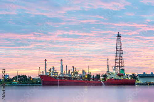 Canvas Prints Berlin Big red ship infront of Oil refinery factory at dawn, Oil refinery - Bangkok, Thailand