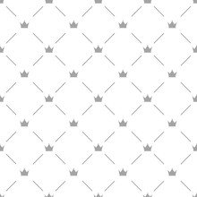 Luxury Seamless Pattern With Silver Crowns