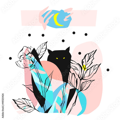 Hand drawn vector abstract artistic creative artwork illustration with black cute monster in night fairy forest in bright blue and pastel colors isolated on white background.Wild soul concept art. - 145125426