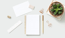 Rose Gold Office Stationery With Decorative Crassula Ovata