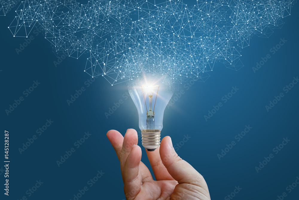 Photo  Innovative idea in businessman hand.