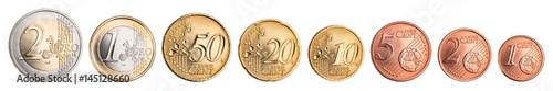 Fotografía  complete set of euro coins isolated on white background / Kompletter Satz Euro M