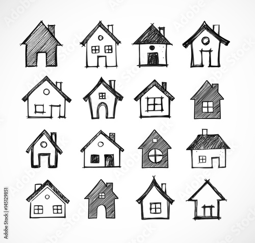 Doodle sketch houses on white background. Vector illustration.
