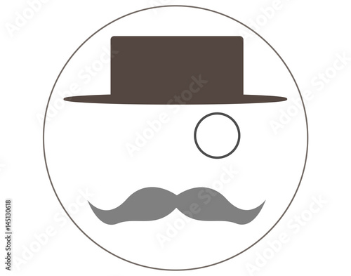 Valokuva Hat, mustache and monocle. Real man style