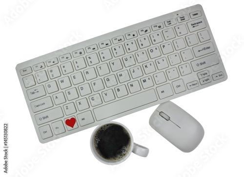 Computer Tastatur mit Kaffeetasse und Herz Symbol Stock