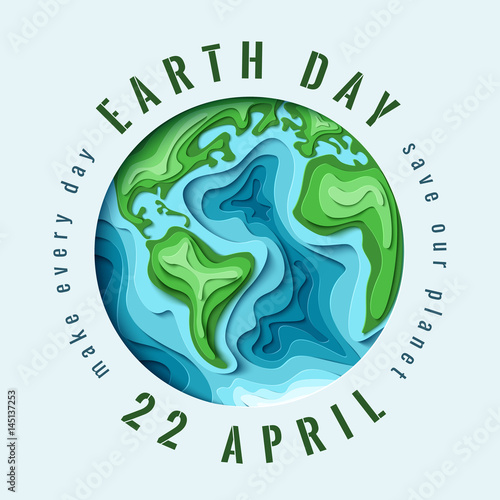 World Earth day concept. 3d paper cut eco friendly design. Vector illustration. Paper carving Earth map shapes with shadow. Save the Earth concept. April 22