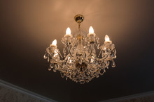 Ceiling Lamp In Crystal With Lighted Lamps