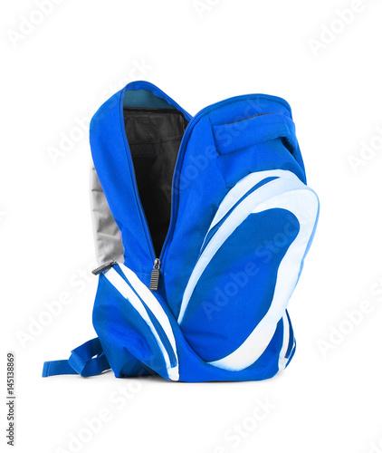 Obraz Open backpack isolated on a white background - fototapety do salonu