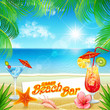 Summer Beach Bar card. Sea landscape in a beautiful sunny day.