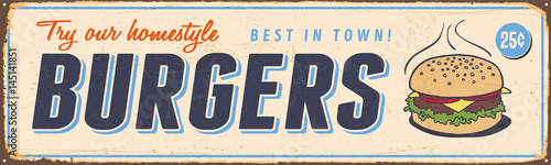 Photographie  Vintage Metal Sign - Try Our Homestyle Hamburgers - Vector EPS10