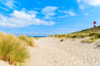 Grass on sand dunes at Ellenbogen beach, Sylt island, Germany