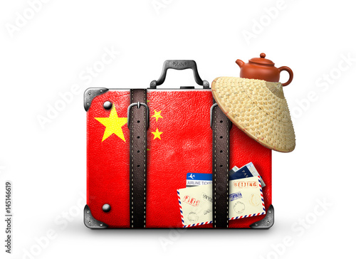 Staande foto China China, vintage suitcase with China flag