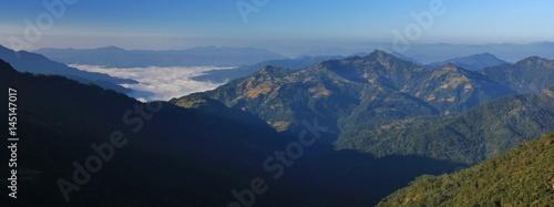 Foto op Aluminium Blauw View from Baglungpani towards Pokhara, Nepal. Hills on a autumn morning.