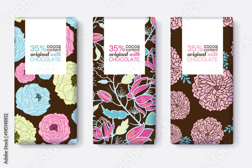 Vector Set Of Chocolate Bar Package Designs With Blue Pink And