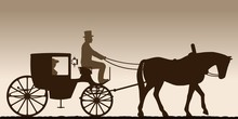Silhouette Of A Carriage. Silhouette Of A Carriage With The Coachman. Four-wheel Carriage. Vector Illustration.