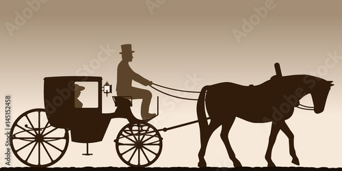 Stampa su Tela Silhouette of a carriage