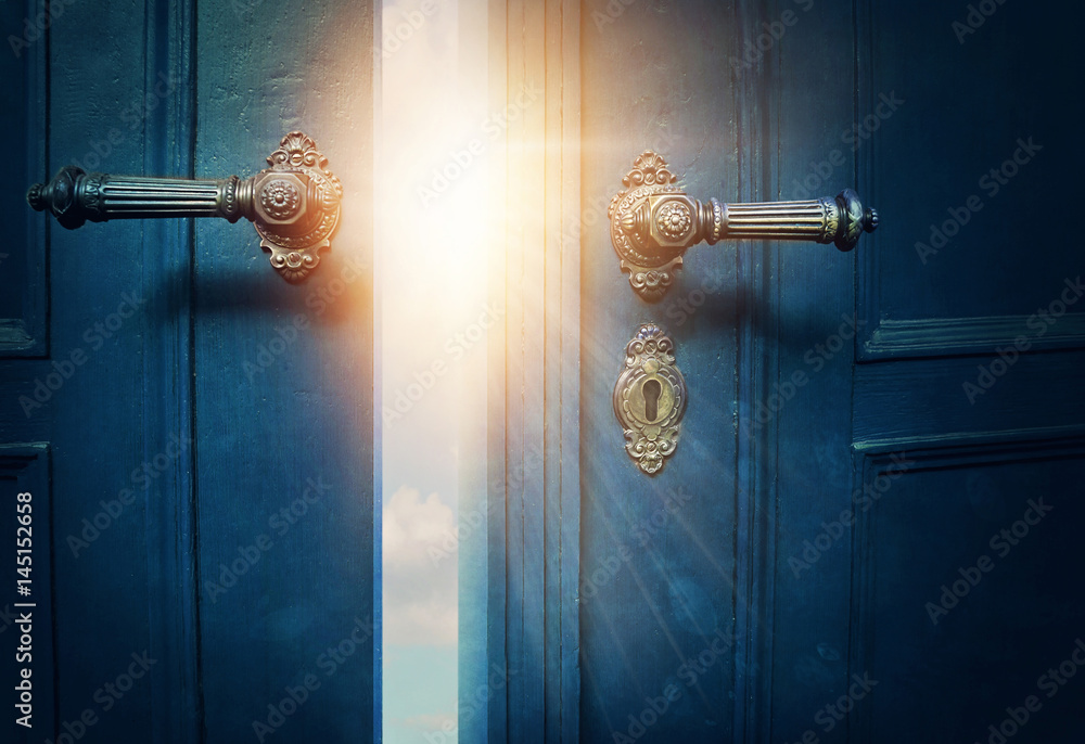 Fototapety, obrazy: Open blue door