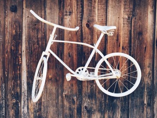 Deurstickers Fiets white bicycle, vintage style