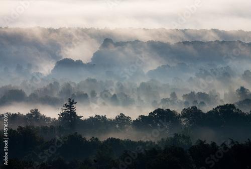 Fényképezés  Ridges recede at sunrise in the Blue Ridge.