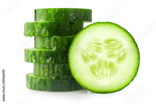 Fototapeta fresh juicy slice cucumber on a white background, isolated obraz
