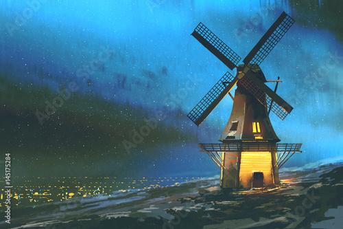 cyfrowa sztuka scenerii nocnej z wiatrakiem na górze zimą, malarstwo ilustracyjne