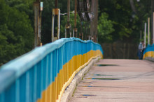 Blue And Yellow Painted Bridge...