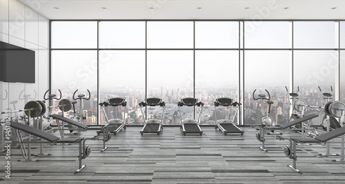 modern style fitness and gym with city and sky view Fototapeta