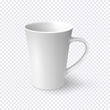 White coffee mug isolated on transparent background