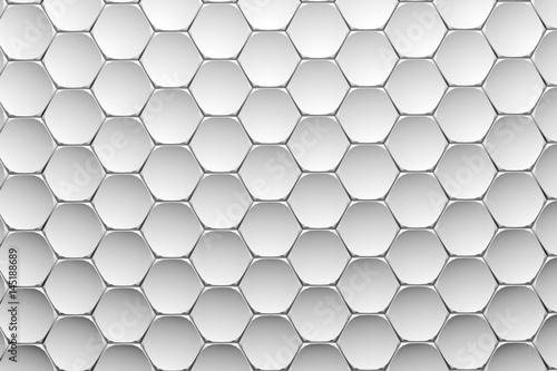 Plakaty białe sześciokąty 3D