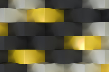 Fototapeta Pattern with black, white and yellow rectangular shapes