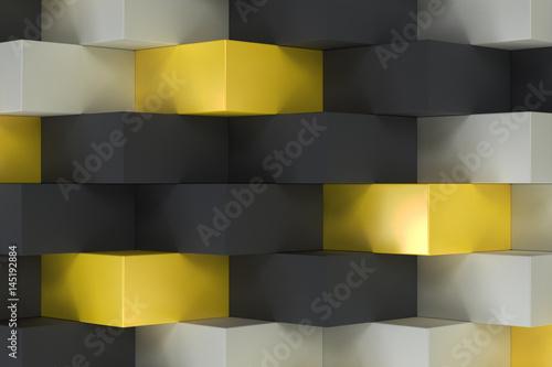 wzor-z-czarnymi-bialymi-i-zoltymi-prostokatnymi-ksztaltami-3d