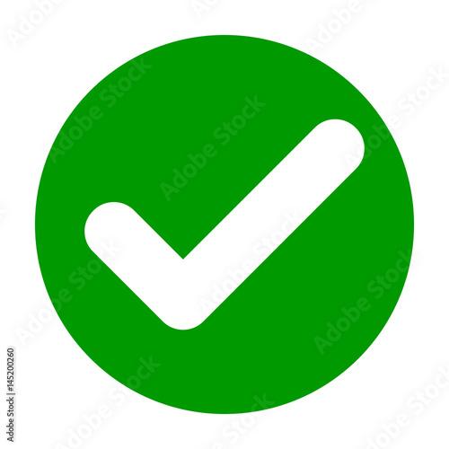 Fotografie, Obraz  Flat round check mark green icon, button