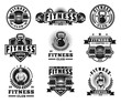Set of bodybuilding emblems, badges, stickers isolated on white.