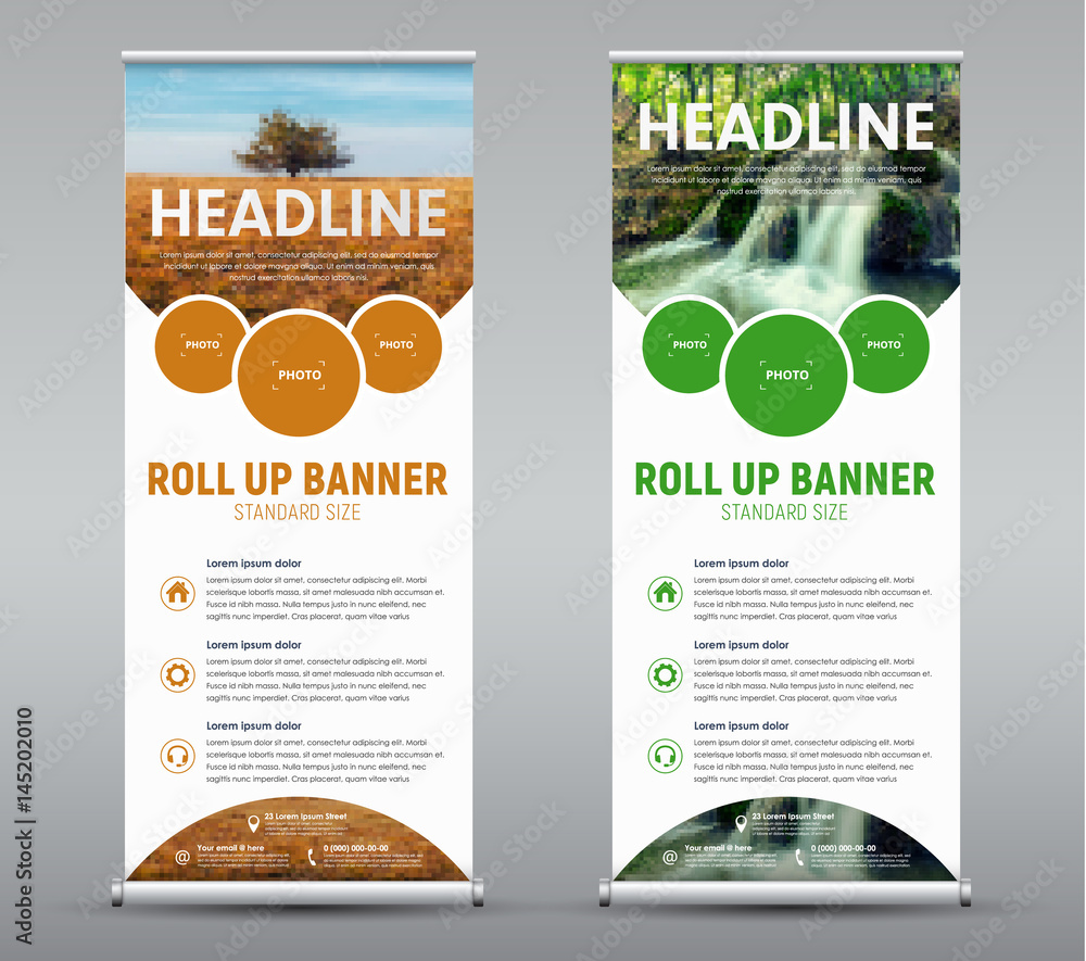 Fototapety, obrazy: Template vertical roll up banner with round and semicircular design elements for the image.